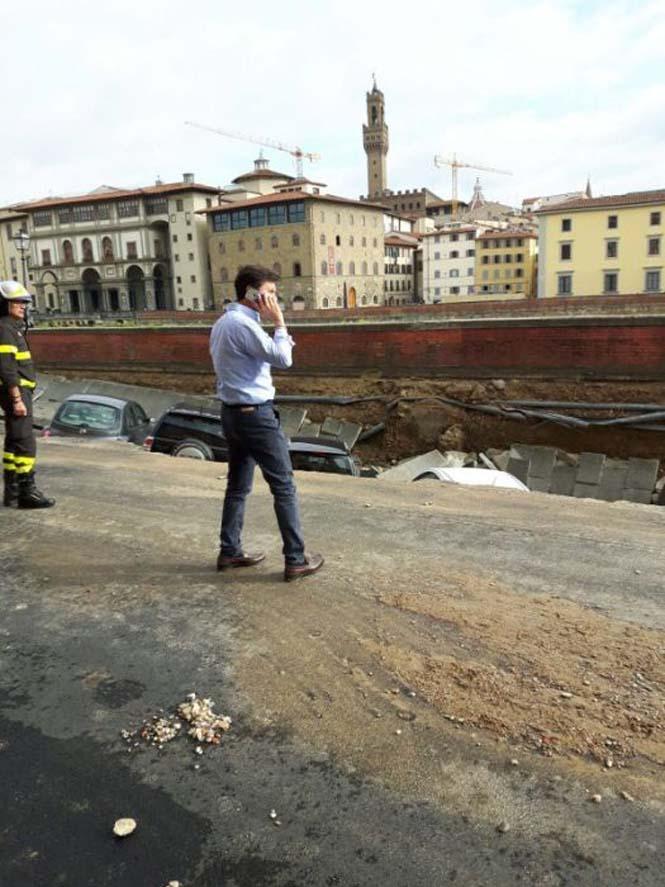 Χώρος στάθμευσης κατέρρευσε στις όχθες του ποταμού Άρνου στη Φλωρεντία (7)