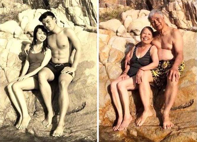Ζευγάρια κάνουν αναπαράσταση παλιών φωτογραφιών δείχνοντας πως η αγάπη είναι παντοτινή (1)
