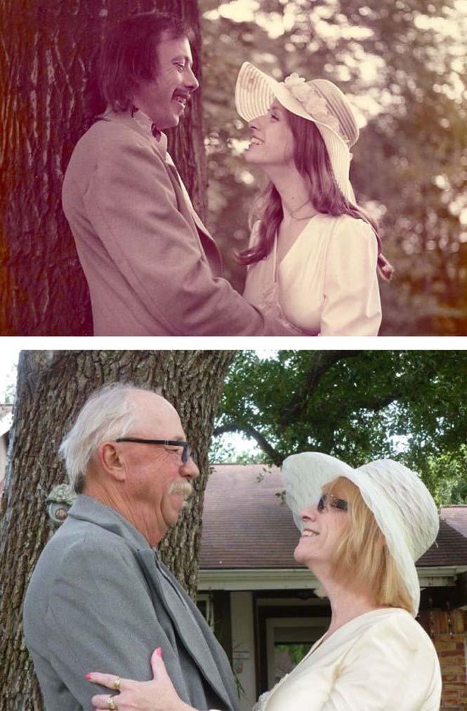Ζευγάρια κάνουν αναπαράσταση παλιών φωτογραφιών δείχνοντας πως η αγάπη είναι παντοτινή (3)