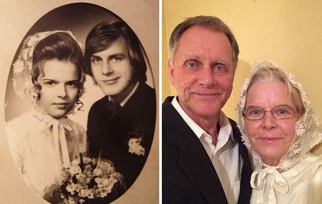 Ζευγάρια κάνουν αναπαράσταση παλιών φωτογραφιών δείχνοντας πως η αγάπη είναι παντοτινή (9)