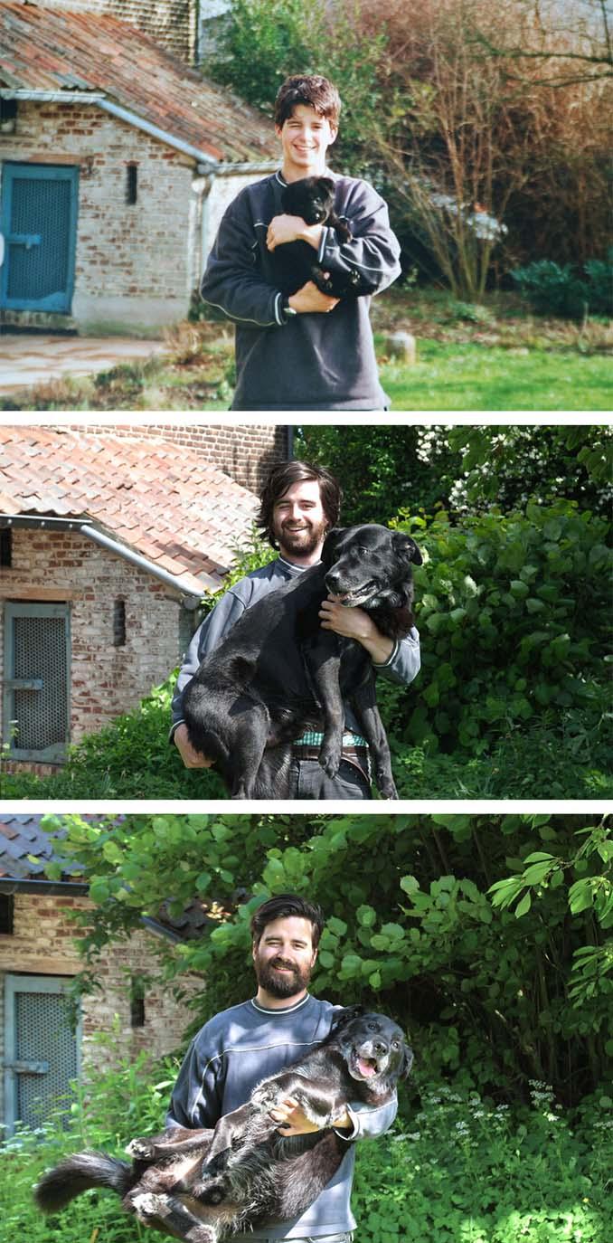 Έβγαλε την ίδια φωτογραφία μετά από 15 χρόνια για να αποχαιρετήσει τον αγαπημένο του σκύλο (2)