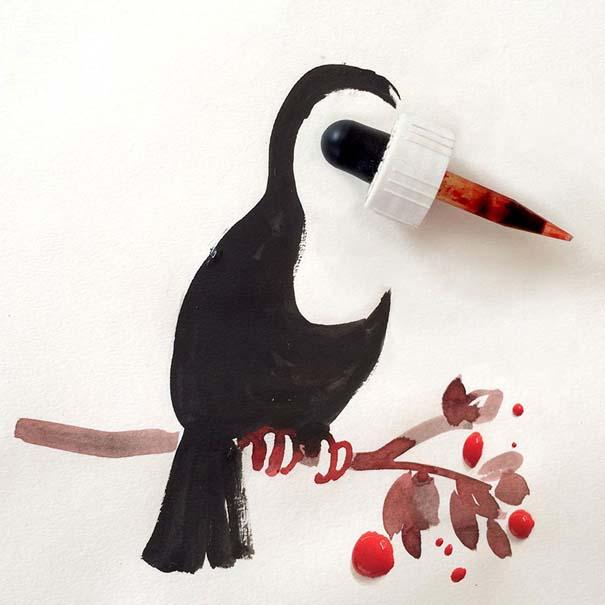Σκιτσογράφος ολοκληρώνει τα σκίτσα του με καθημερινά αντικείμενα (2)