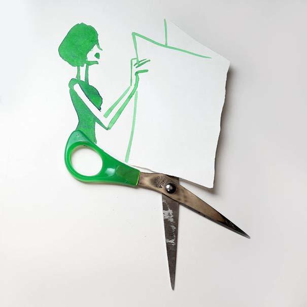 Σκιτσογράφος ολοκληρώνει τα σκίτσα του με καθημερινά αντικείμενα (7)