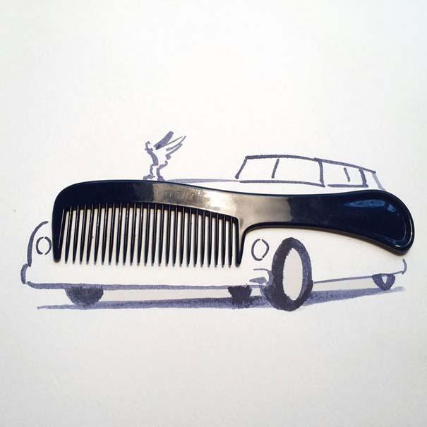 Σκιτσογράφος ολοκληρώνει τα σκίτσα του με καθημερινά αντικείμενα (13)
