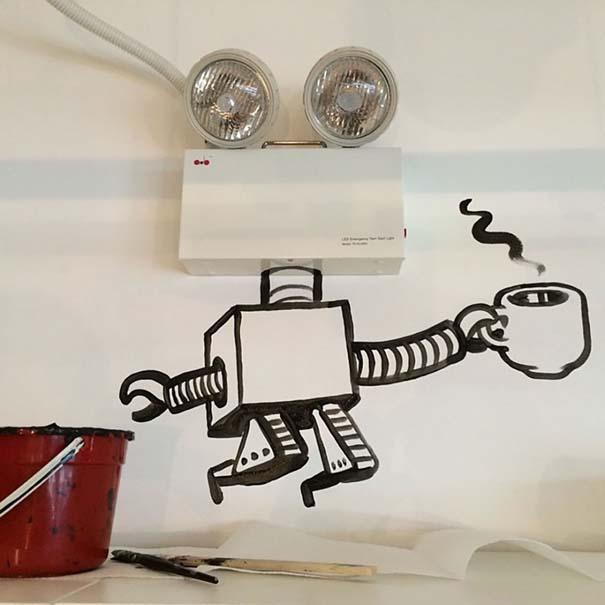 Σκιτσογράφος ολοκληρώνει τα σκίτσα του με καθημερινά αντικείμενα (21)