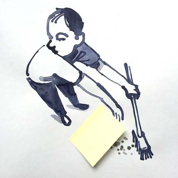 Σκιτσογράφος ολοκληρώνει τα σκίτσα του με καθημερινά αντικείμενα (25)