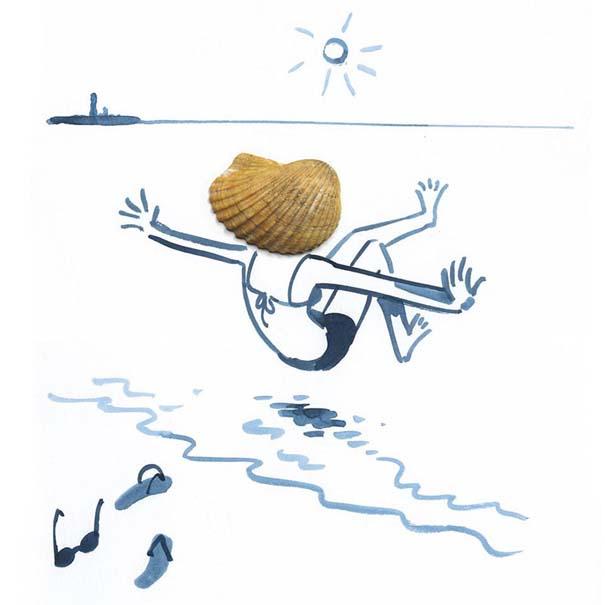 Σκιτσογράφος ολοκληρώνει τα σκίτσα του με καθημερινά αντικείμενα (29)