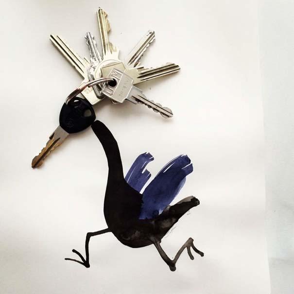 Σκιτσογράφος ολοκληρώνει τα σκίτσα του με καθημερινά αντικείμενα (30)