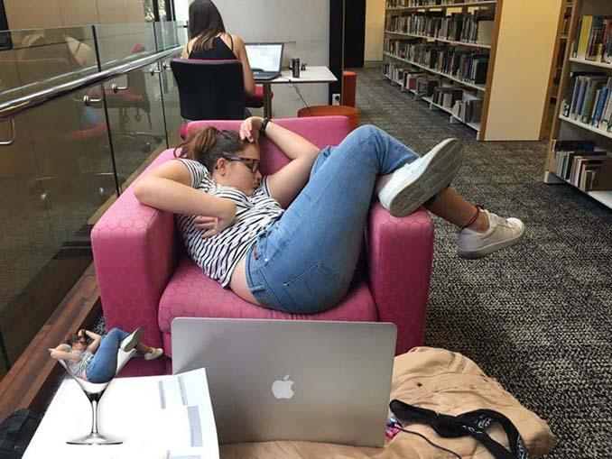 Φοιτήτρια αποκοιμήθηκε στην βιβλιοθήκη της σχολής και οι χρήστες του Photoshop ξεσάλωσαν (2)