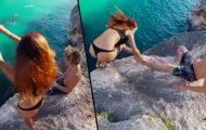 Η κοπέλα του έπεφτε από βράχο και αυτός αντέδρασε με τον πιο απίστευτο τρόπο
