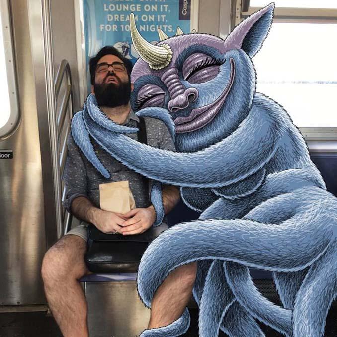 Σκιτσογράφος σχεδιάζει παράξενα τέρατα στη Νέα Υόρκη (1)