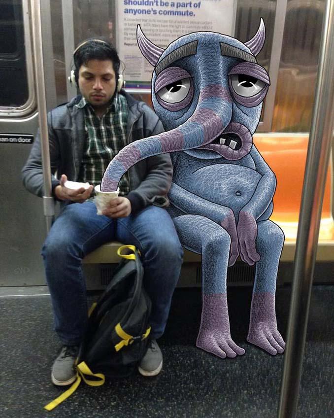 Σκιτσογράφος σχεδιάζει παράξενα τέρατα στη Νέα Υόρκη (2)