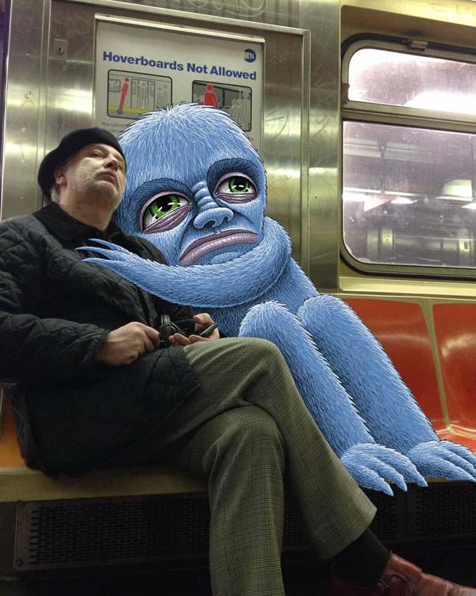 Σκιτσογράφος σχεδιάζει παράξενα τέρατα στη Νέα Υόρκη (3)