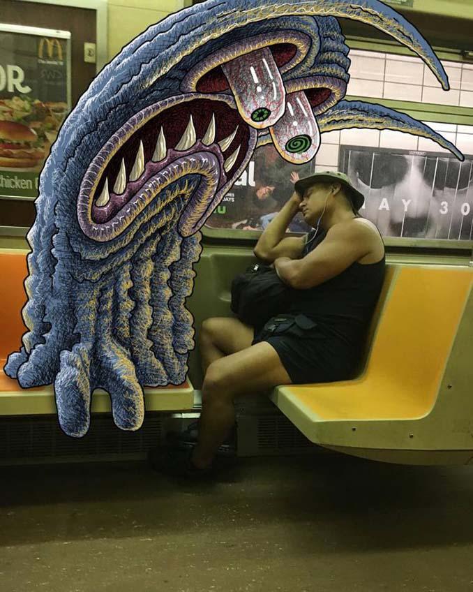 Σκιτσογράφος σχεδιάζει παράξενα τέρατα στη Νέα Υόρκη (7)