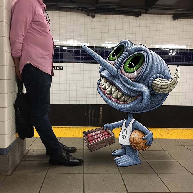 Σκιτσογράφος σχεδιάζει παράξενα τέρατα στη Νέα Υόρκη (11)