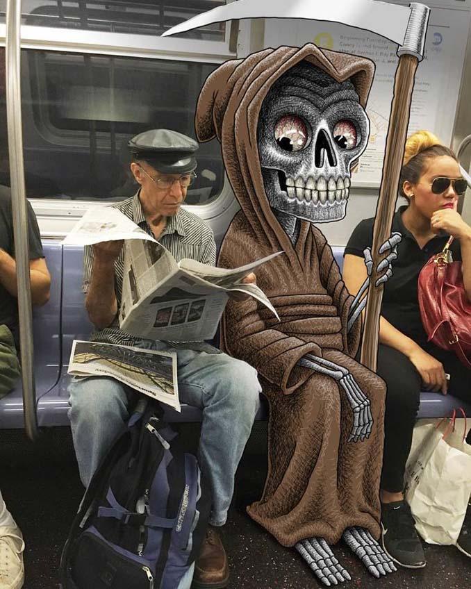 Σκιτσογράφος σχεδιάζει παράξενα τέρατα στη Νέα Υόρκη (17)