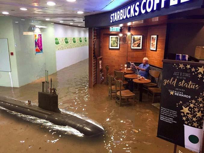 Άνδρας που διαβάζει ατάραχος εφημερίδα εν μέσω πλημμύρας, γίνεται αφορμή για ξεκαρδιστικό Photoshop Battle (8)