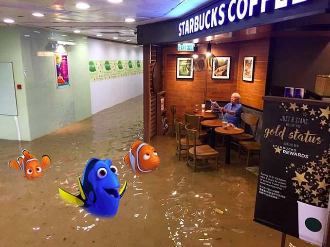 Άνδρας που διαβάζει ατάραχος εφημερίδα εν μέσω πλημμύρας, γίνεται αφορμή για ξεκαρδιστικό Photoshop Battle (15)
