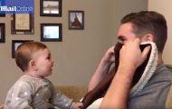 Δείτε την αντίδραση ενός μωρού όταν βλέπει τον μπαμπά του για πρώτη φορά χωρίς μούσι