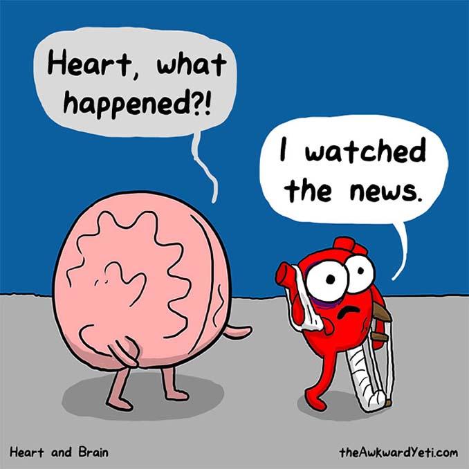 Καρδιά vs Μυαλό: Ξεκαρδιστικά σκίτσα για την αιώνια μάχη μέσα μας (2)