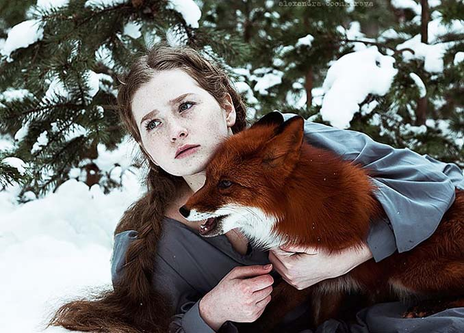 Παραμυθένια πορτραίτα με κοκκινομάλλες και μια κόκκινη αλεπού (1)