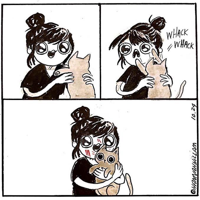 Σκιτσογράφος δείχνει πώς είναι να ζεις με γάτες (15)
