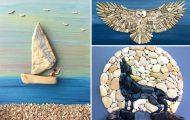 Εντυπωσιακή τέχνη με βότσαλα από την παραλία