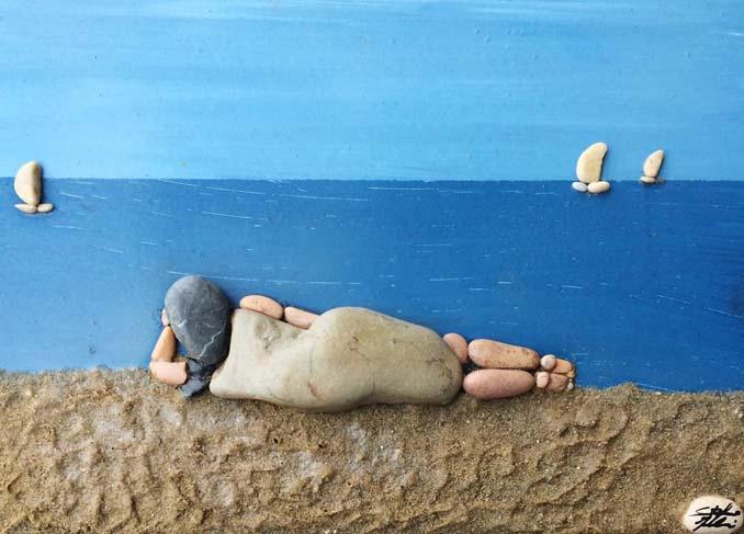 Τέχνη με βότσαλα από την παραλία (2)