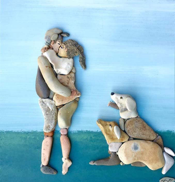 Τέχνη με βότσαλα από την παραλία (17)