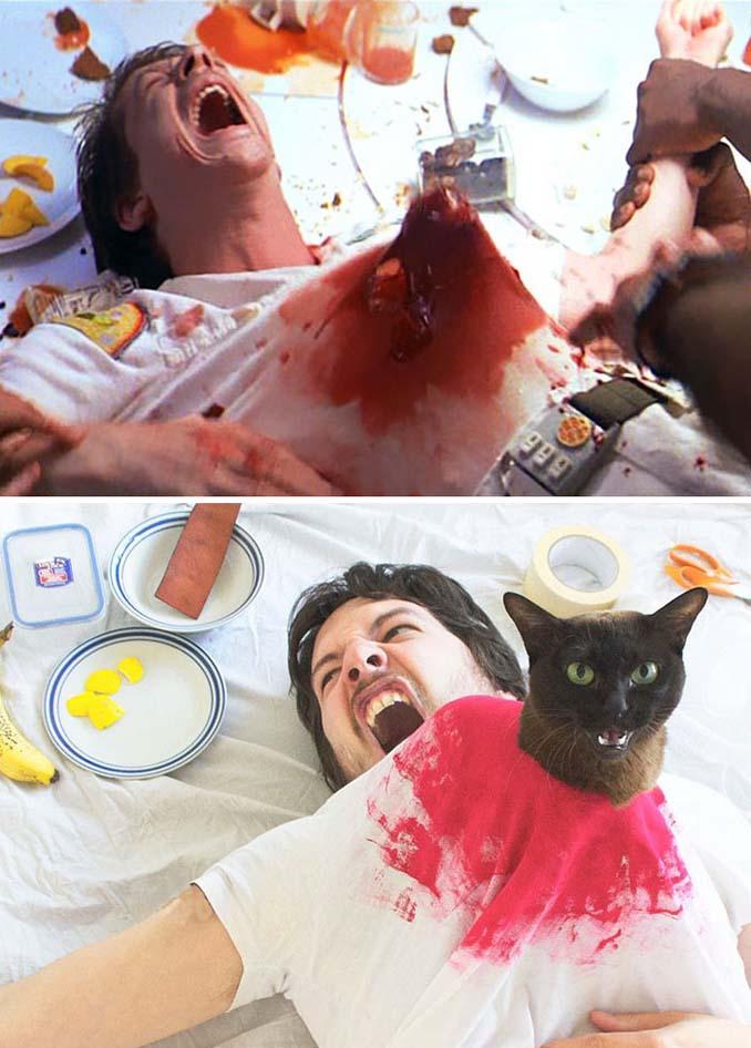 Ένας τύπος και οι γάτες του αναπαριστούν διάσημες σκηνές από ταινίες (1)