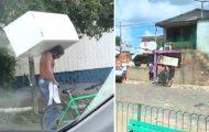 Μεταφέροντας ψυγεία με το ποδήλατο