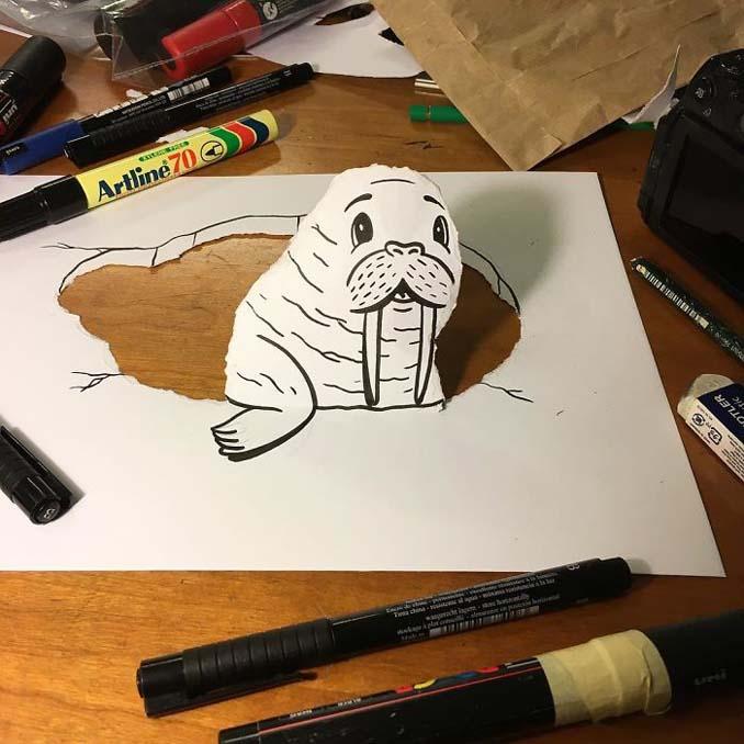 Σκιτσογράφος ζωντανεύει τα σκίτσα του χρησιμοποιώντας έξυπνα 3D τρικ (2)