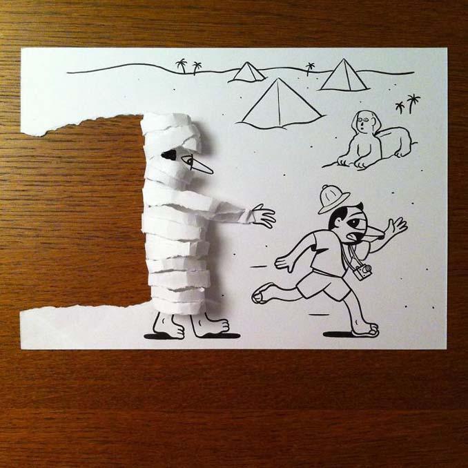 Σκιτσογράφος ζωντανεύει τα σκίτσα του χρησιμοποιώντας έξυπνα 3D τρικ (7)