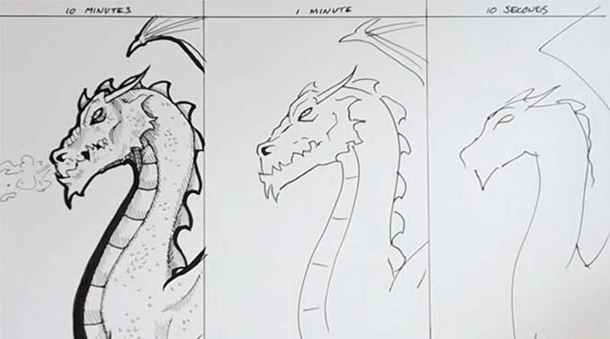 Speed Drawing: Κάνοντας την ίδια ζωγραφιά σε 10 λεπτά, σε 1 λεπτό και σε 10 δευτερόλεπτα (4)