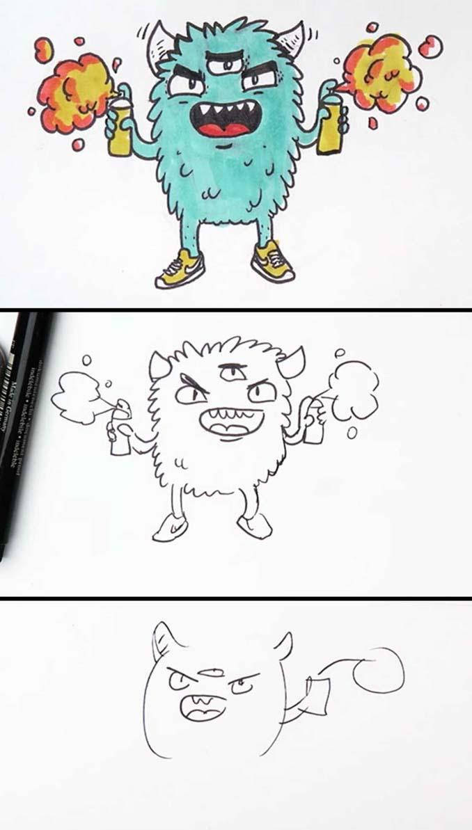 Speed Drawing: Κάνοντας την ίδια ζωγραφιά σε 10 λεπτά, σε 1 λεπτό και σε 10 δευτερόλεπτα (18)