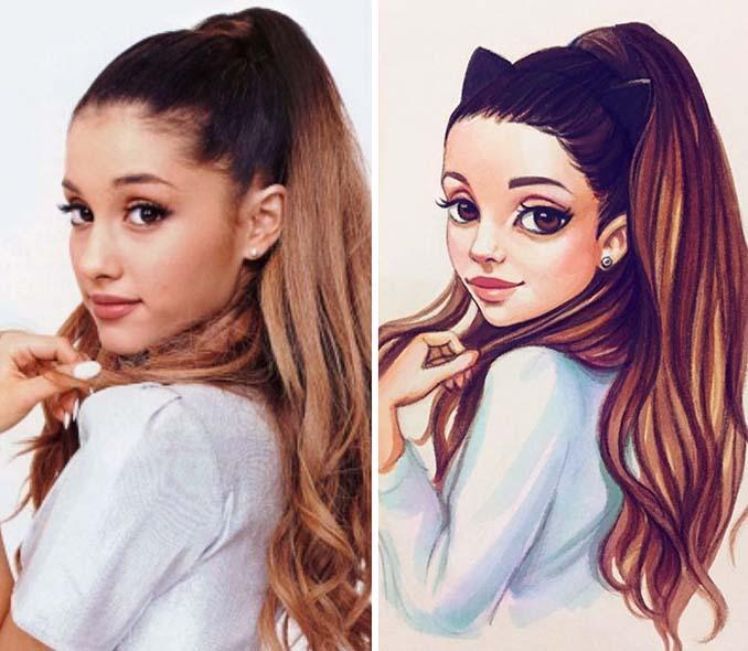 Διάσημοι μετατρέπονται σε χαρακτήρες καρτούν από ταλαντούχα καλλιτέχνιδα (3)