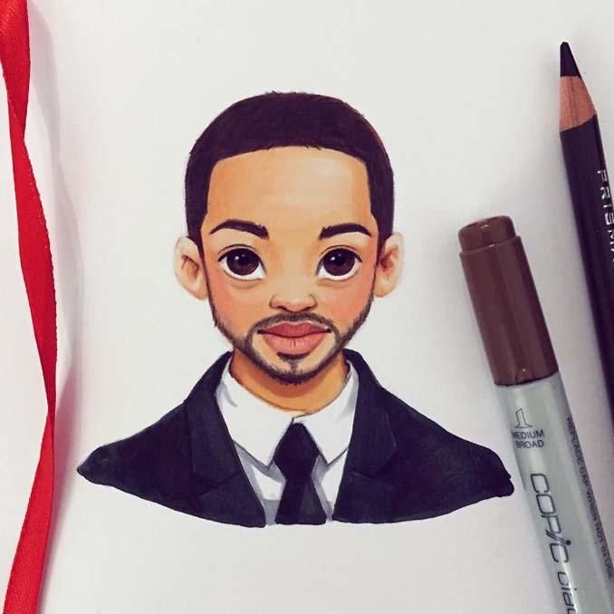 Διάσημοι μετατρέπονται σε χαρακτήρες καρτούν από ταλαντούχα καλλιτέχνιδα (15)