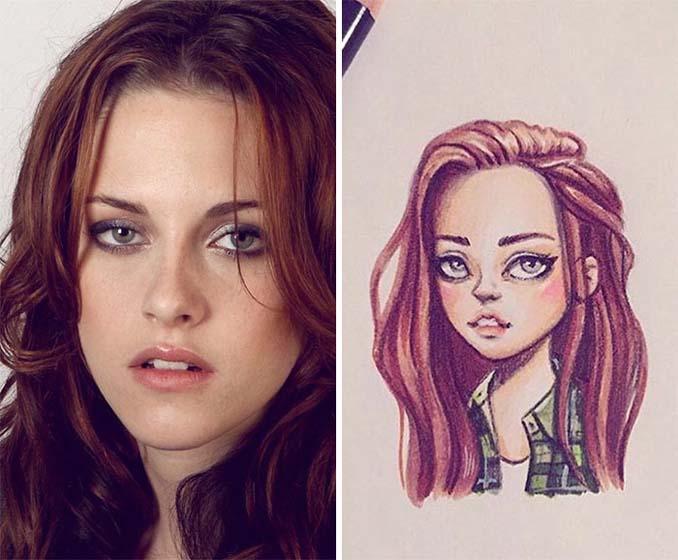 Διάσημοι μετατρέπονται σε χαρακτήρες καρτούν από ταλαντούχα καλλιτέχνιδα (17)