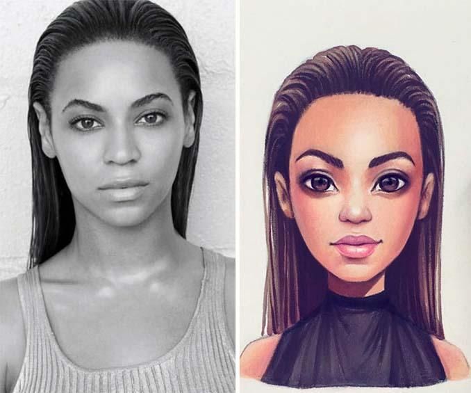 Διάσημοι μετατρέπονται σε χαρακτήρες καρτούν από ταλαντούχα καλλιτέχνιδα (18)