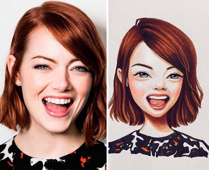 Διάσημοι μετατρέπονται σε χαρακτήρες καρτούν από ταλαντούχα καλλιτέχνιδα (19)