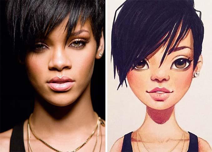 Διάσημοι μετατρέπονται σε χαρακτήρες καρτούν από ταλαντούχα καλλιτέχνιδα (21)