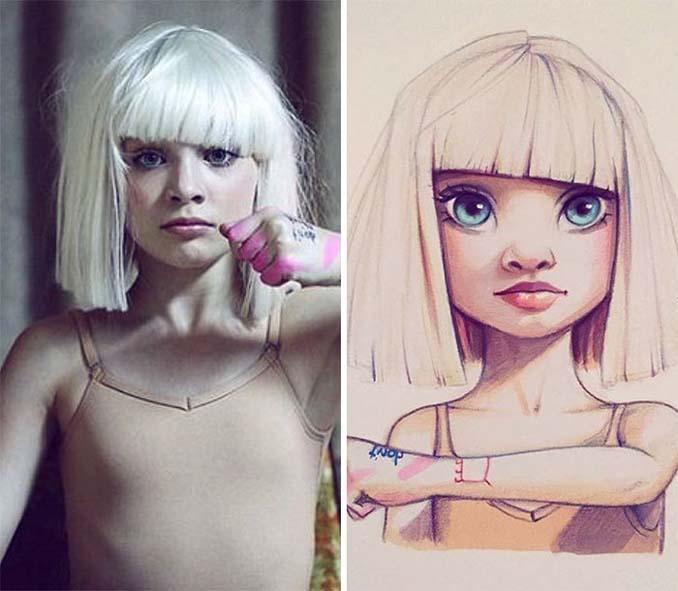 Διάσημοι μετατρέπονται σε χαρακτήρες καρτούν από ταλαντούχα καλλιτέχνιδα (23)