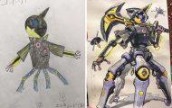 Πατέρας μετατρέπει τις ζωγραφιές των γιων του σε χαρακτήρες anime και το αποτέλεσμα είναι εκπληκτικό (1)