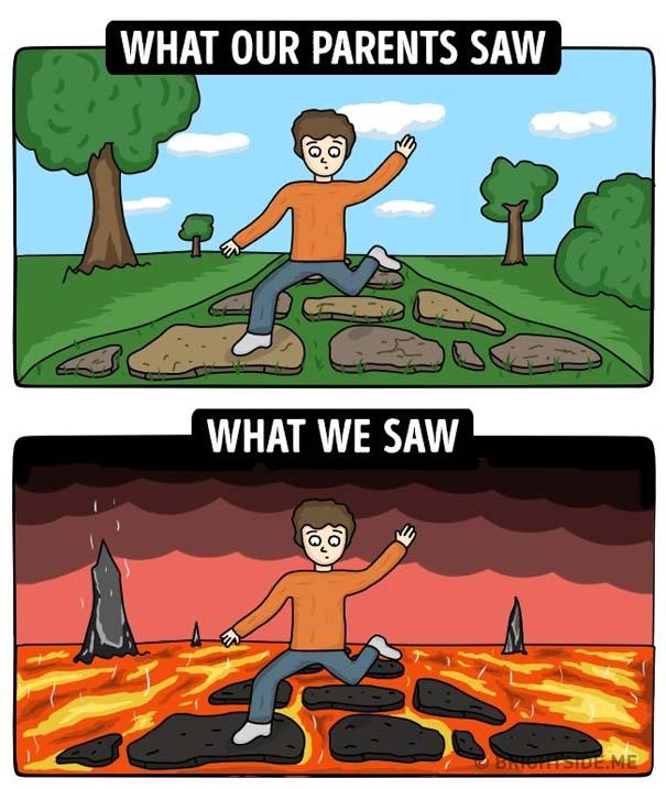 Σκίτσα δείχνουν πως βλέπαμε την παιδική μας ηλικία και πώς την έβλεπαν οι γονείς μας (5)