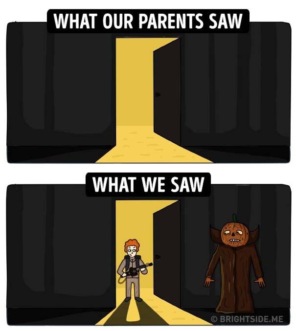 Σκίτσα δείχνουν πως βλέπαμε την παιδική μας ηλικία και πώς την έβλεπαν οι γονείς μας (8)