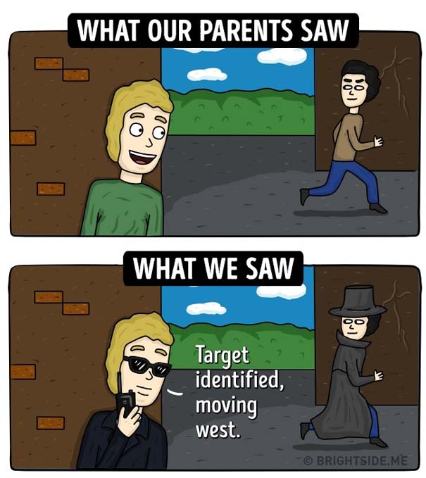 Σκίτσα δείχνουν πως βλέπαμε την παιδική μας ηλικία και πώς την έβλεπαν οι γονείς μας (9)