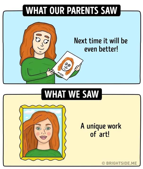 Σκίτσα δείχνουν πως βλέπαμε την παιδική μας ηλικία και πώς την έβλεπαν οι γονείς μας (11)
