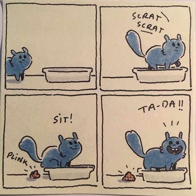 Σκιτσογράφος δείχνει πως είναι η ζωή με τις γάτες της (5)