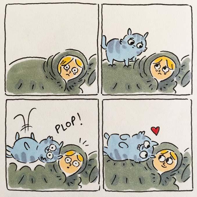 Σκιτσογράφος δείχνει πως είναι η ζωή με τις γάτες της (13)