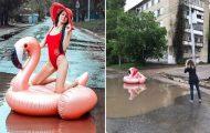 Μοντέλο διαμαρτύρεται για τους δρόμους στη Ρωσία με μια επαγγελματική φωτογράφηση στις λακκούβες